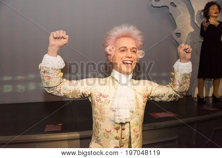 Prague, Czech republic, July 22, 2017: Wolfgang Amadeus Mozart in Grevin museum of the wax figures in Prague.