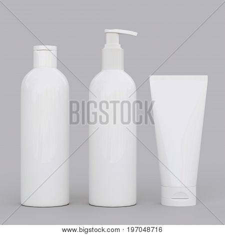 Corporate stationery set mockup. Blank brand ID elements, cosmetic or drug bottles and tube, isolated on gray, 3D rendering. Dispenser for cream, soups, foams and other cosmetics.