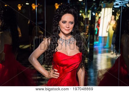 Prague, Czech republic, July 22, 2017: Lucie Bila in Grevin museum of the wax figures in Prague.