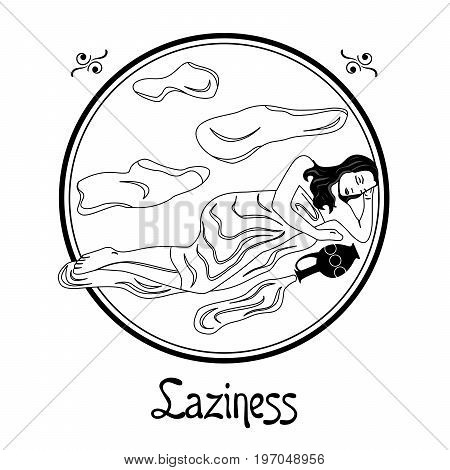 Illustration with a woman on the theme of laziness.