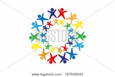 Vector logo of many human figures of all colors of the rainbow with their arms raised and their legs spread apart arranged in a circle with the same circle of little men inside on a white background.