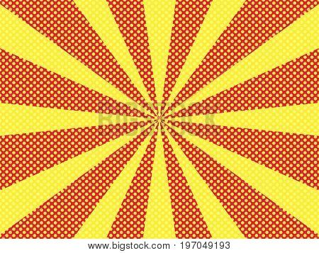 Comic pop art style blank beams and isolated dots background. For sale banner halftone book design. Vector illustration of red background.