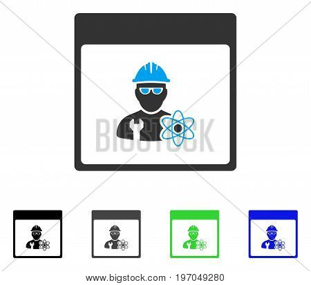 Atomic Engineer Calendar Page flat vector icon. Colored atomic engineer calendar page gray, black, blue, green pictogram versions. Flat icon style for web design.