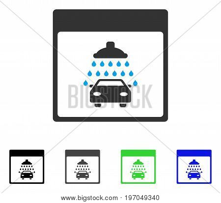 Automobile Shower Calendar Page flat vector illustration. Colored automobile shower calendar page gray, black, blue, green pictogram variants. Flat icon style for graphic design.