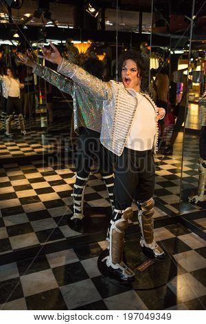 Prague, Czech republic, July 22, 2017: Michael Jackson in Grevin museum of the wax figures in Prague.