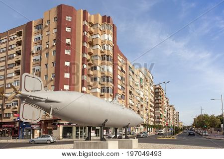 Cartagena Spain - May 28 2017: Replica of the historic Peral submarine in the city of Cartagena Murcia province Spain