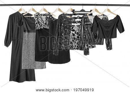 Black woman clothes on clothes racks on white background