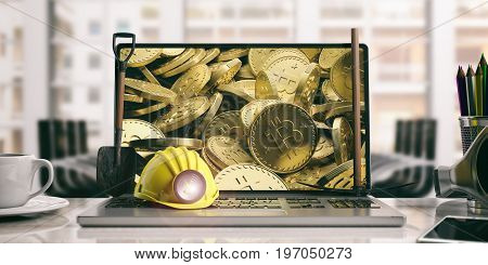 Bitcoins Stack And Miner's Equipment On A Computer Screen. 3D Illustration