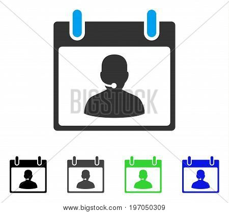 Call Center Manager Calendar Day flat vector illustration. Colored call center manager calendar day gray, black, blue, green pictogram variants. Flat icon style for application design.
