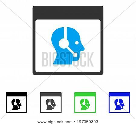Call Center Operator Calendar Page flat vector pictogram. Colored call center operator calendar page gray, black, blue, green pictogram versions. Flat icon style for application design.