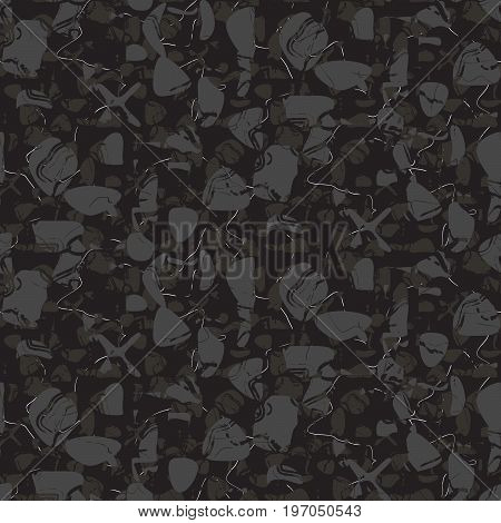 Marble stone seamless dark gray vector pattern. Artificial stone grey on black vector background.