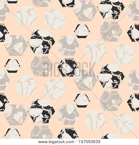 Marble stone hexagons seamless pale pink vector texture. Stone grey and black geo vector background.