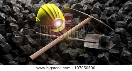 Miner's Equipment On Black Stones Background. 3D Illustration