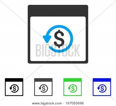 Chargeback Calendar Page flat vector icon. Colored chargeback calendar page gray, black, blue, green pictogram versions. Flat icon style for web design.