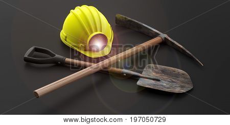 Miner's Helmet, Pickaxe And Shovel On Black Background. 3D Illustration