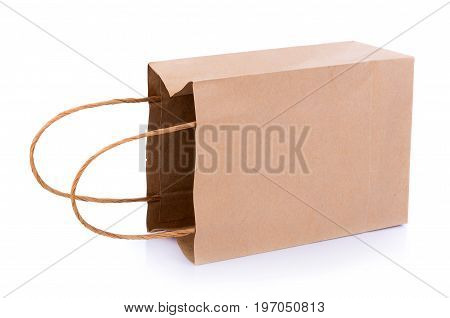 Closeup Brown paper bag on white background