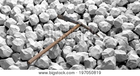 Pickaxe On White Rocks Background. 3D Illustration