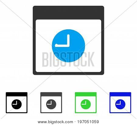 Clock Calendar Page flat vector icon. Colored clock calendar page gray, black, blue, green icon variants. Flat icon style for application design.
