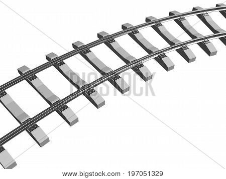Railway rails and sleepers in 3d isolated on a white background