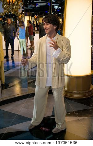 Prague, Czech republic, July 22, 2017: Jackie Chan in Grevin museum of the wax figures in Prague.