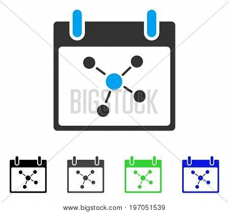 Connections Calendar Day flat vector pictogram. Colored connections calendar day gray, black, blue, green pictogram versions. Flat icon style for application design.