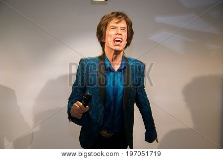 Prague, Czech republic, July 22, 2017: Mick Jagger in Grevin museum of the wax figures in Prague.
