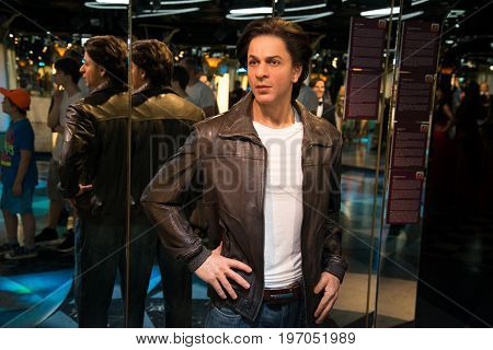 Prague, Czech republic, July 22, 2017: Shahrukh Kahn in Grevin museum of the wax figures in Prague.