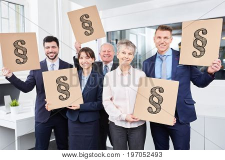 Paragraph symbol in many signs with business team