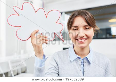 Trainee with speech bubble as creative communication idea concept
