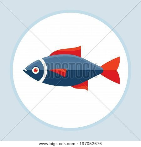 Fish with red fins - vector logo template concept illustration in flat style design.