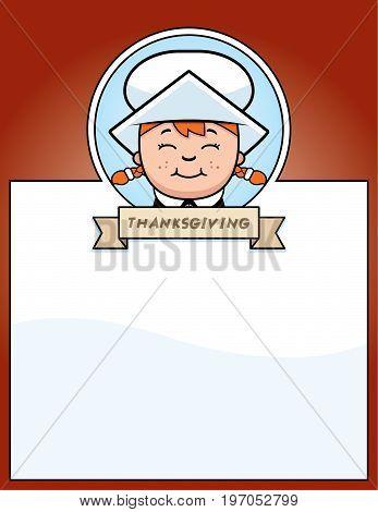 Cartoon Thanksgiving Pilgrim Girl Graphic