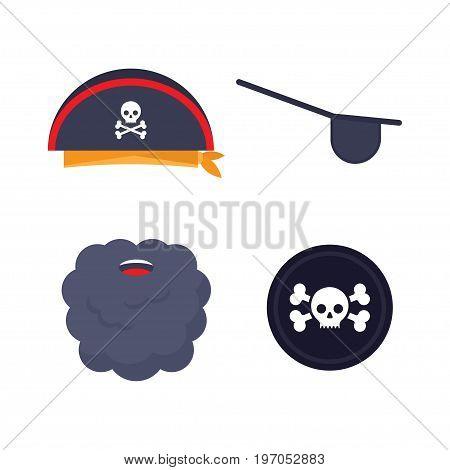 Set of pirate elements. Cocked hat beard eyecup Vector illustration