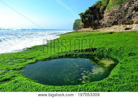 Dreamland beach, Bali, Indonesia - July 2017: The waves on the beach