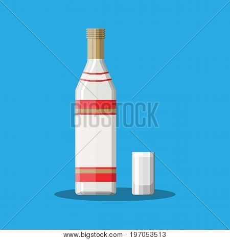 Bottle of vodka with shot glass. Vodka alcohol drink. Vector illustration in flat style