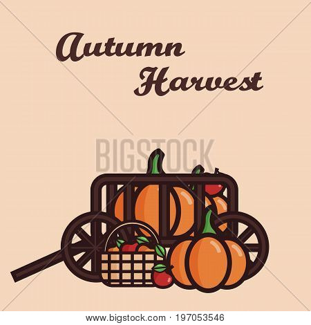 Vector illustration of a cart filled with crop: pumpkins and apples. Basket with fruits. Autumn harvest.