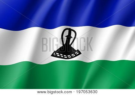 Lesotho flag. National patriotic symbol in official country colors. Illustration of Africa state waving flag. Realistic vector icon