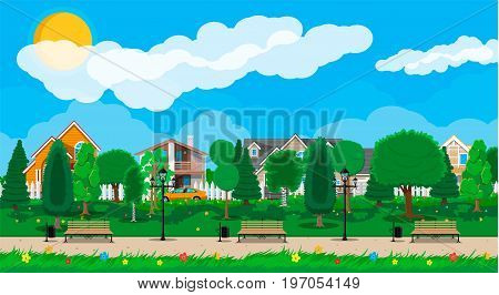 Suburb concept, wooden bench, street lamp, waste bin in square. Cityscape with buildings and trees. Sky with clouds and sun. Leisure time in summer city park. Vector illustration in flat style