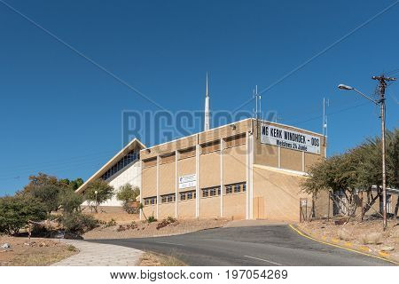 WINDHOEK NAMIBIA - JUNE 15 2017: The Dutch Reformed Church Windhoek-East and hall in Windhoek the capital city of Namibia