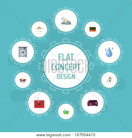 Flat Icons Clothes Washing, Laundry, Laundromat And Other Vector Elements