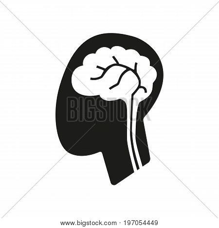 Icon of human brain. Anatomy, memory, disease. Healthcare concept. Can be used for topics like intelligence, creativity, neurology