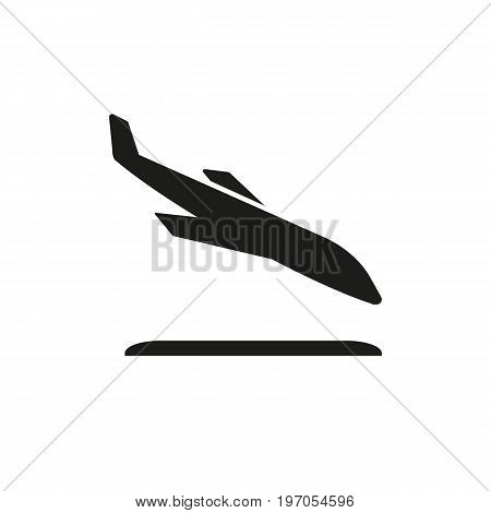 Icon of landing airplane. Airways, tourism, departure. Traveling concept. Can be used for topics like airport, vacation, destination
