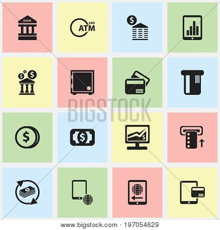 Set Of 16 Editable Finance Icons. Includes Symbols Such As Bar Graph, International Delivery, Network And More