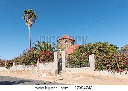 WINDHOEK NAMIBIA - JUNE 16 2017: Sanderburg castle built between 1917 and 1919 is the smallest of three castles in Windhoek the capital city of Namibia