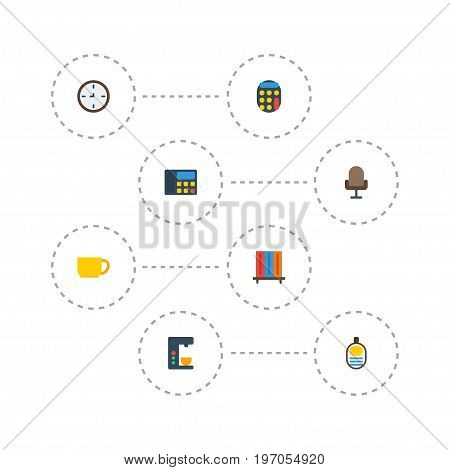 Flat Icons Armchair, Bookshop, Watch And Other Vector Elements