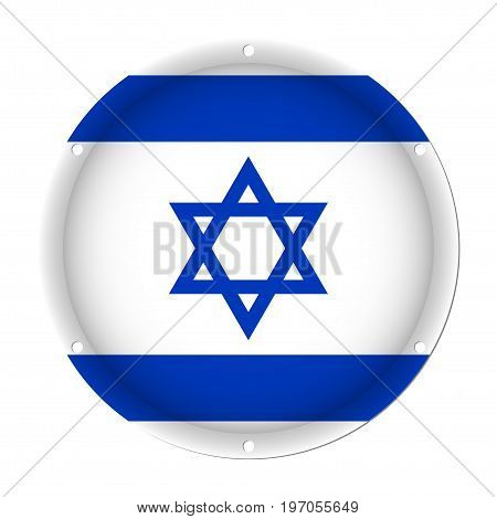 round metallic flag of Israel with six screw holes in front of a white background