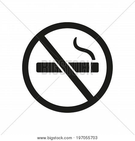Icon of no smoking sign. Warning, danger, nicotine. Healthcare concept. Can be used for topics like bad habit, addiction prohibition