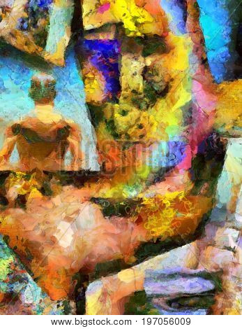 Colorful abstract painting. Brush strokes and geometric elements. Naked man's back.  3D rendering