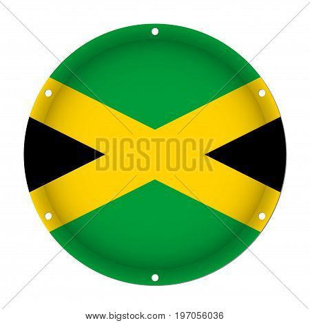 round metallic flag of Jamaica with six screw holes in front of a white background