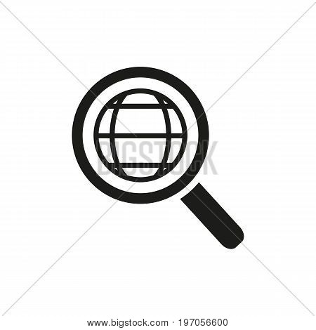 Icon of searching magnifyer. Geography, interface, internet. Navigation concept. Can be used for topics like traveling, research, guidance