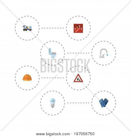 Flat Icons Mitten, Cement Blender, Restroom And Other Vector Elements